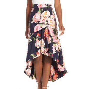 ELIZA J Navy Floral Print Ruffle Skirt Hi-Low 12